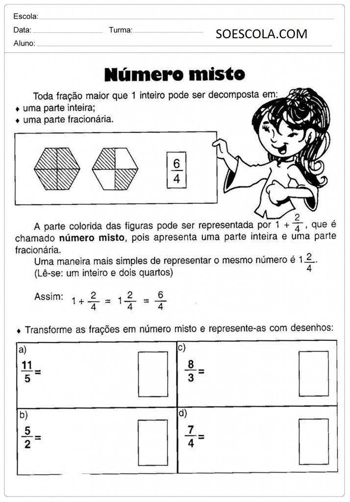 FRAÇÕES - Atividades de Matemática para imprimir - Atividades Educativas para 5ºAno