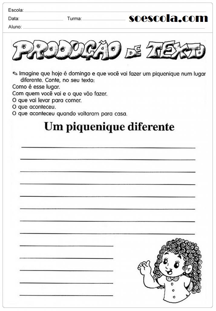 Atividades de Produção de texto incriveis para 3º ano para imprimir