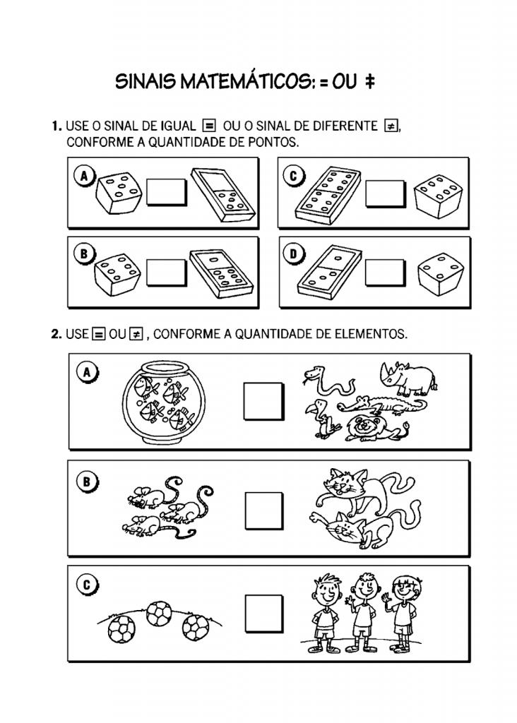 Atividade para ensino fundamental envolvendo quantidades e uso dos sinais matemáticos: diferente e igual.