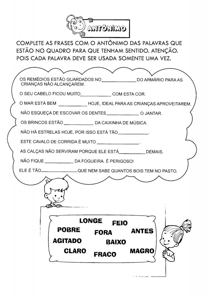 Atividades Com Sinônimos E Antônimos Para Imprimir Só Escola