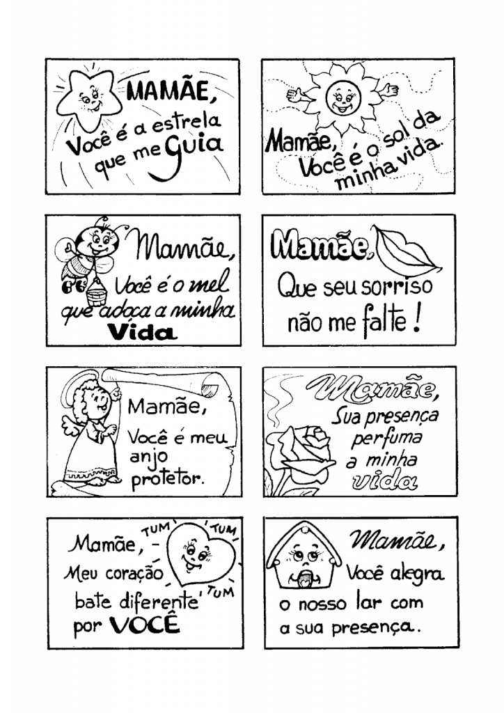 Recados para o Dia das Mães para imprimir e colorir