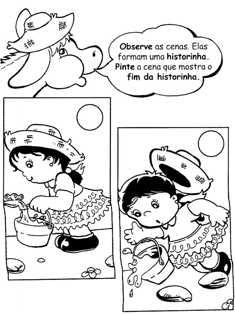Imagens para Produção de Texto sobre Festa Junina   Observe as cenas. Elas formam uma historinha. Pinte a cena que mostra o fim da historinha.