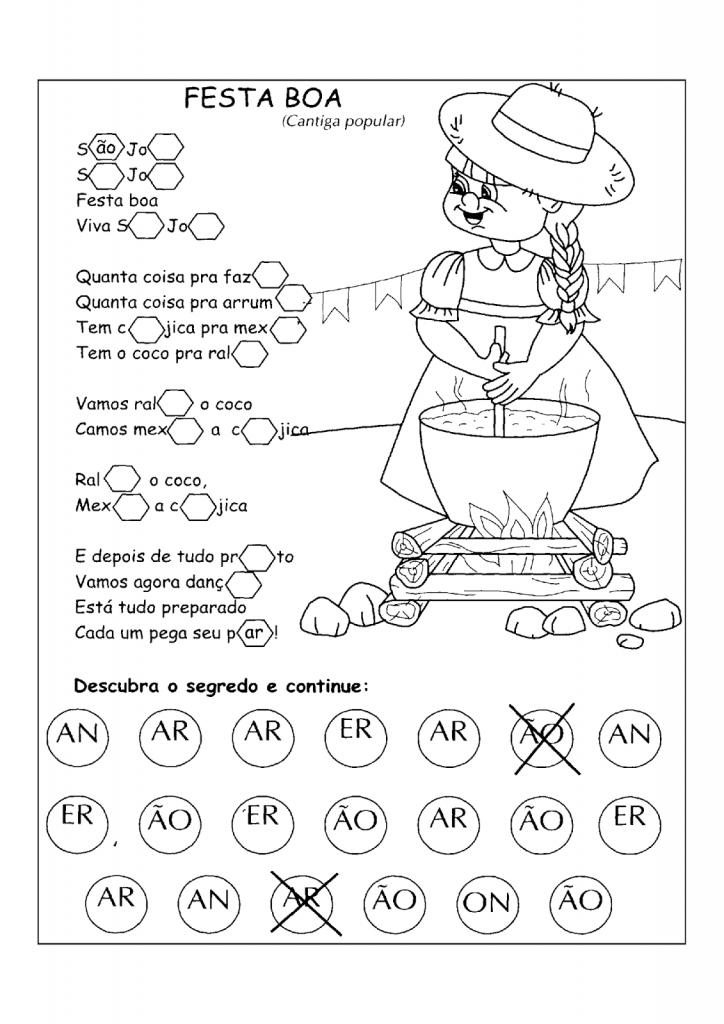 Atividade com Música sobre Festa Junina para imprimir, colorir e divertir