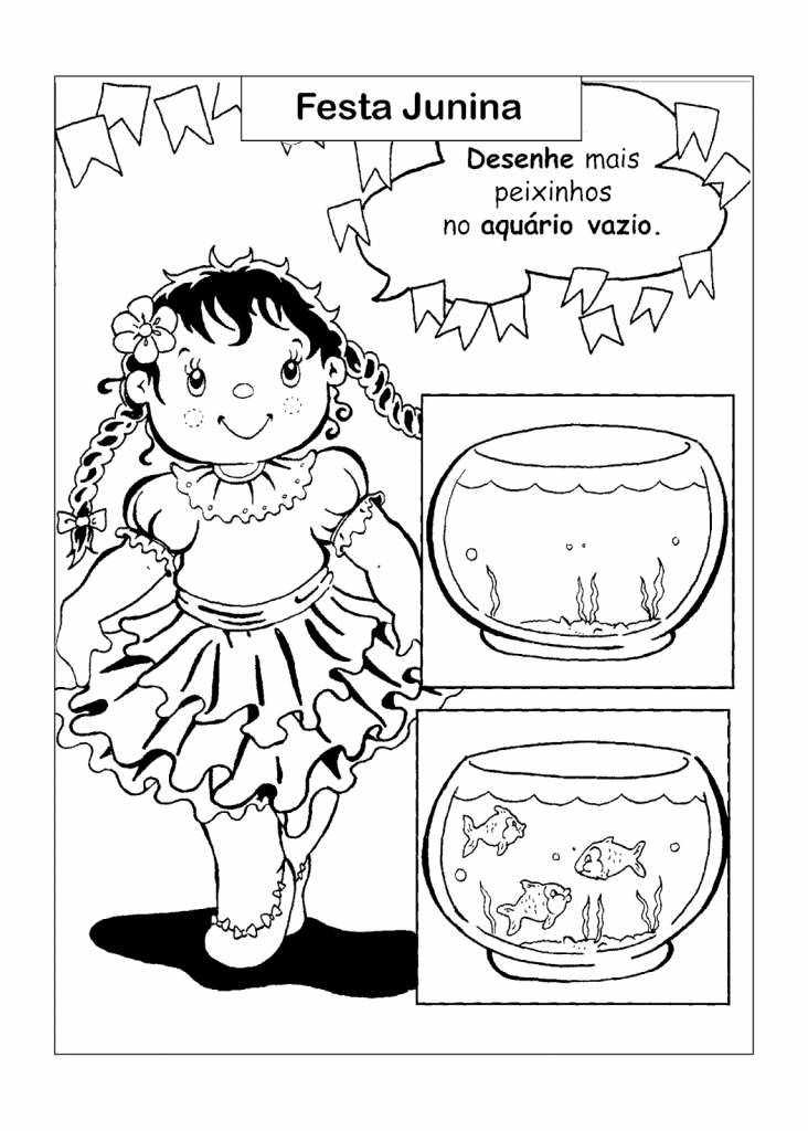 Atividade de Desenhar sobre Festa Junina para alfabetização e imprimir
