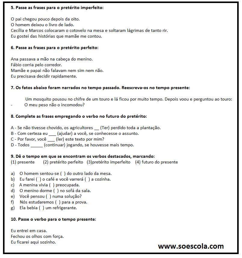 Atividades com verbos para download e imprimir