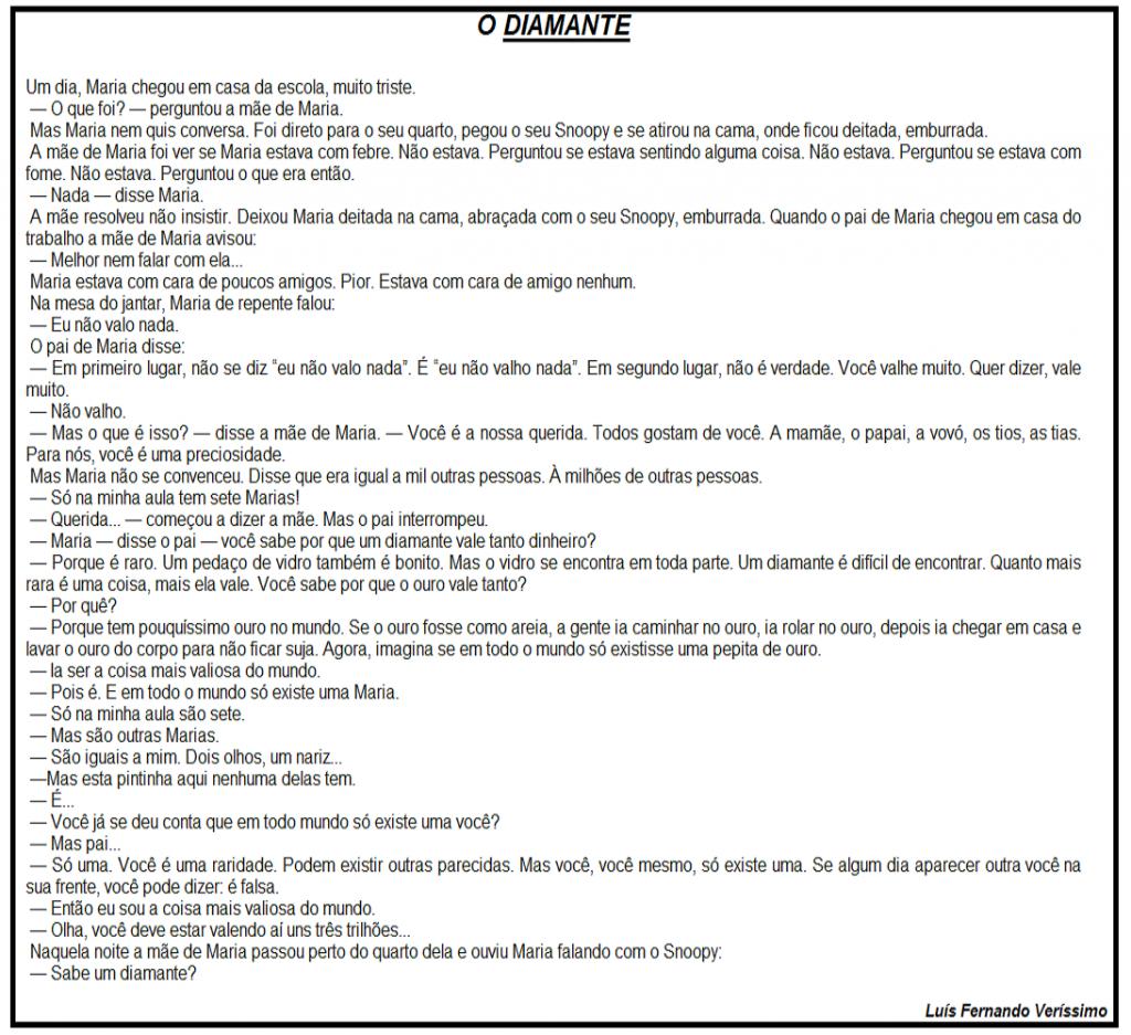 Interpretação de Texto: O Diamante - Avaliação para o 4º ano para Imprimir e para Download