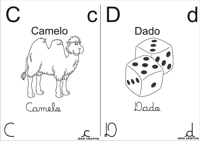 Alfabeto com figuras para colorir  você pode escolher desenhos do alfabeto com figuras para colorir, imprimir e pintar. Nesse caso, o desenho se refere a algum objeto ou alguma coisa cuja letra inicial seja aquela representada. Ou seja, letra E de ESCOLA, D de DADO ou L de LEÃO.  Além disso você tem o desenho das letras maiúscula e minúscula tanto em palito como em formato cursivo. Um alfabeto bem completo para você se divertir colorindo e aprender brincando.  Alfabeto com figuras para colorir e Imprimir