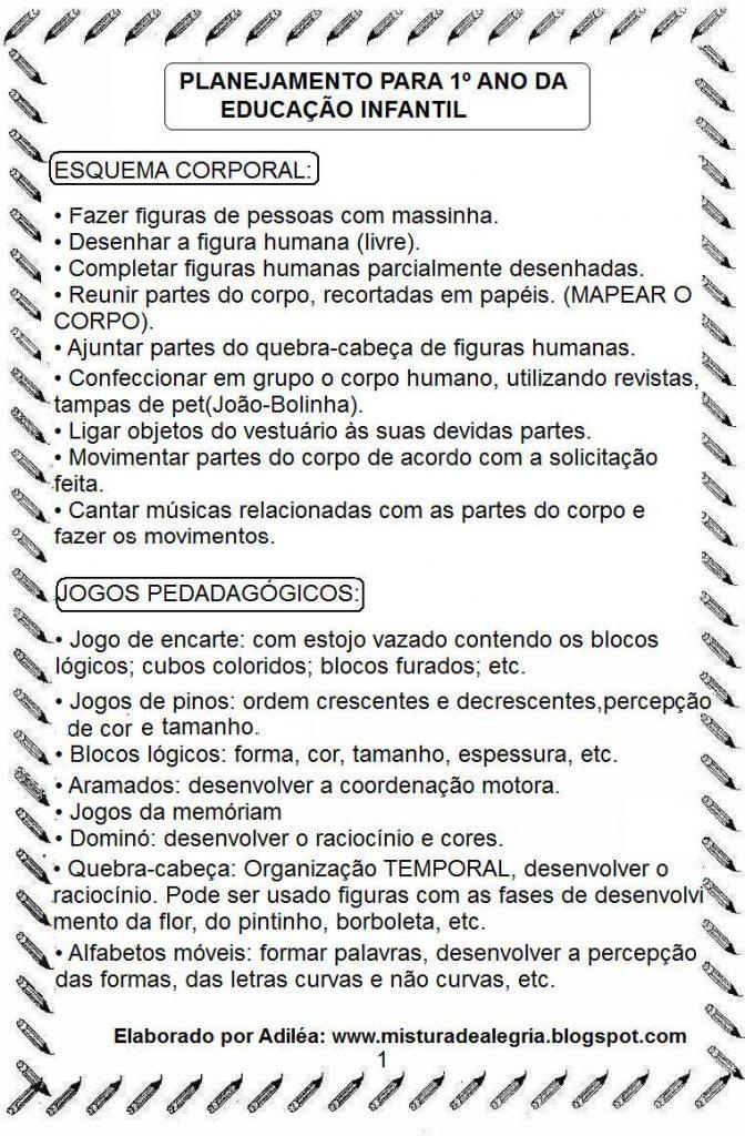 PLANEJAMENTO DE 1º ANO, EDUCAÇÃO INFANTIL PRONTO PARA IMPRIMIR