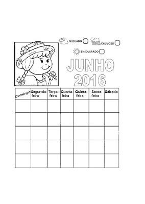 Calendários 2016 para o mês de Junho e Julho - Atividades para Colorir