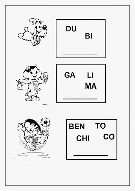 Alfabetização Infantil com a Turma da Mônica: atividades de alfabetização para alunos do primeiro ano do ensino fundamental I. São atividades para os alunos compreenderem o som das sílabas e formarem o nome dos personagens que fazem parte da Turma da Mônica.