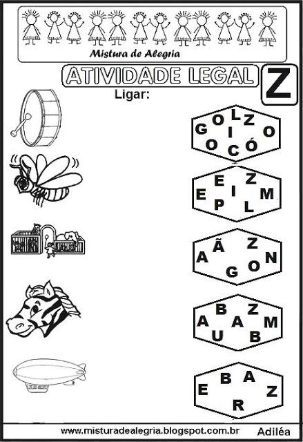 Atividade Legal Ligar Letras Desenhos Alfabetizac3a7c3a3o Z Imprimir