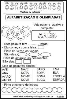 Atividades Olimpiadas 2016 Alfabetizacao Aneis Imprimir Colorir