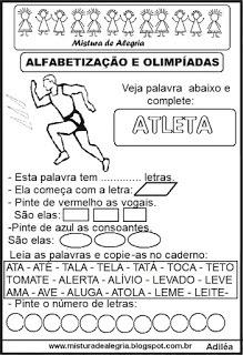 Atividades Olimpiadas 2016 Alfabetizacao Atleta Imprimir Colorir