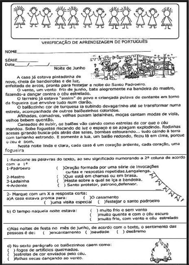 Avaliação de português para 3º ano - Imprimir e colorir