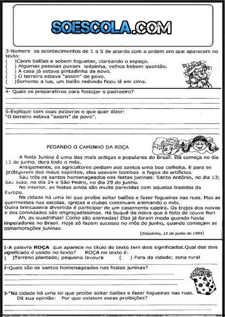 AVALIAÇÃO DE PORTUGUÊS para alunos do 3º ANO