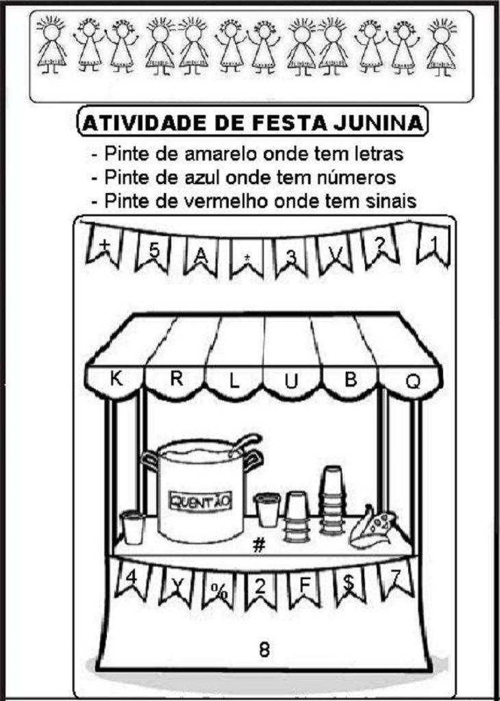 Diversas Atividades prontas para imprimir e colorir sobre Festa Junina