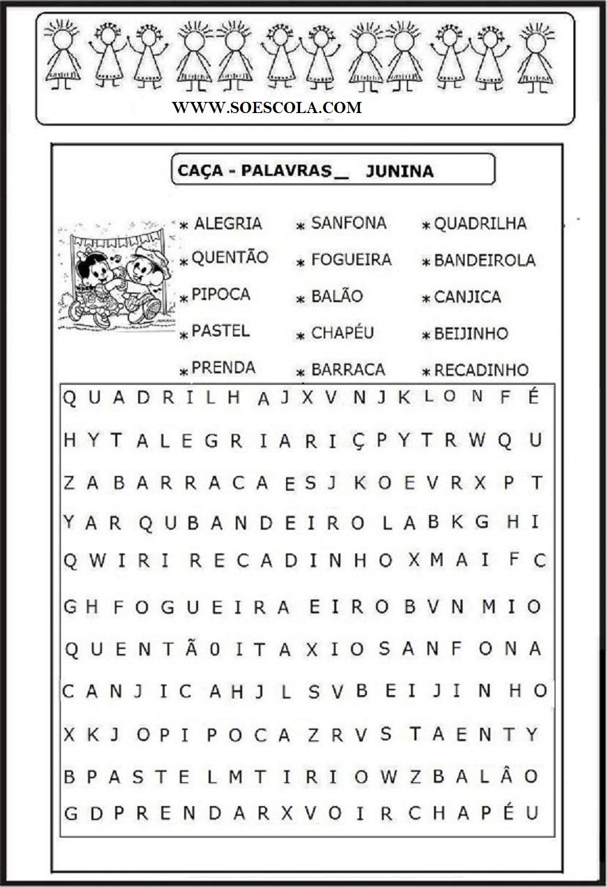 Festa Junina Caca Palavras Imprimir So Escola