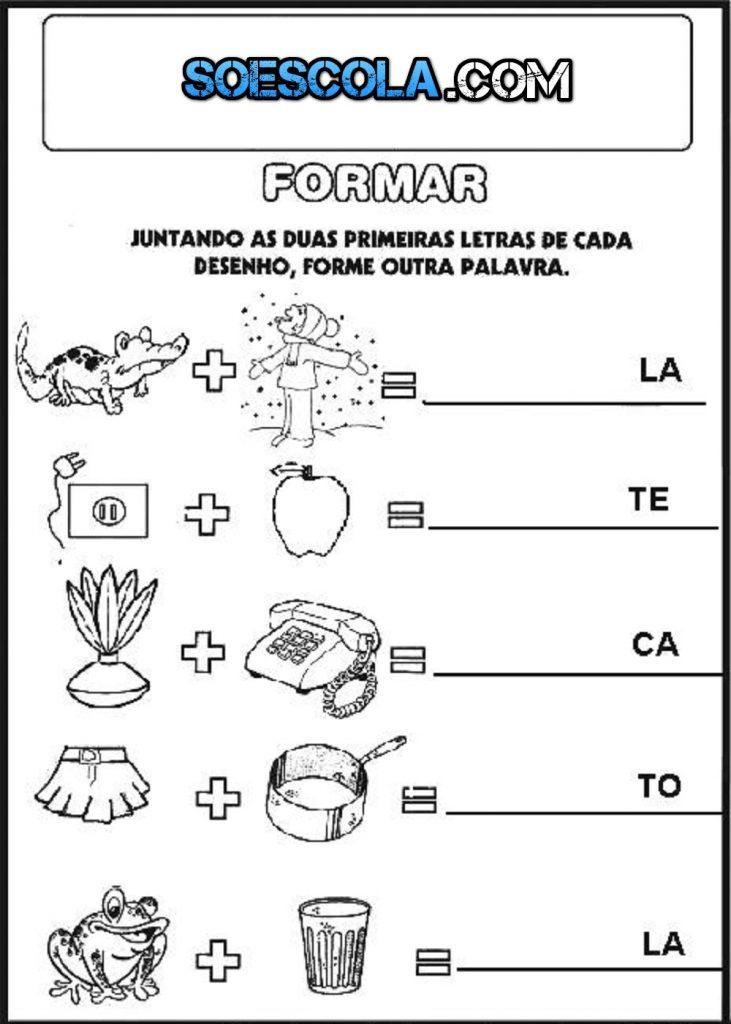 Atividades para imprimir e colorir - Formando Palavras com as Sílabas