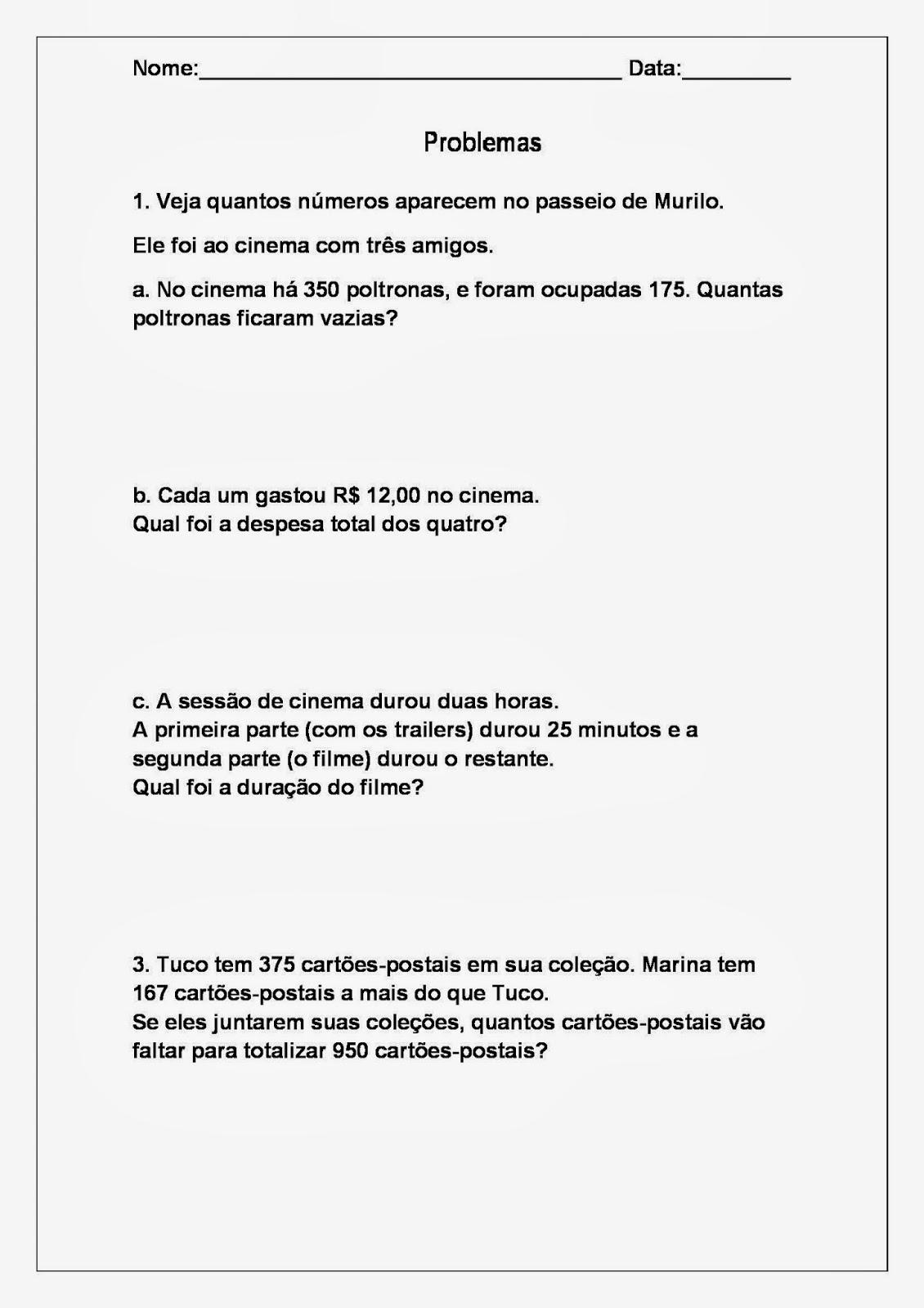 Problemas De Matematica 3 Ano Atividades Educativas Para Imprimir So Escola