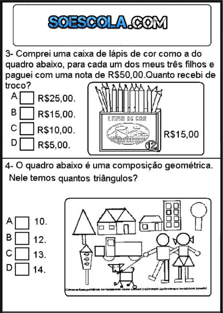 Simulado: Atividades de matemática para imprimir 5º ano