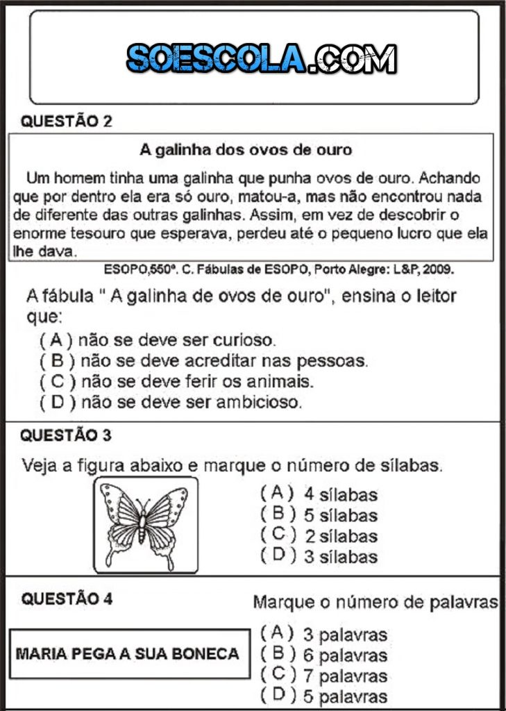 Confira esse simulado de português para o 3º ano pronto para imprimir.