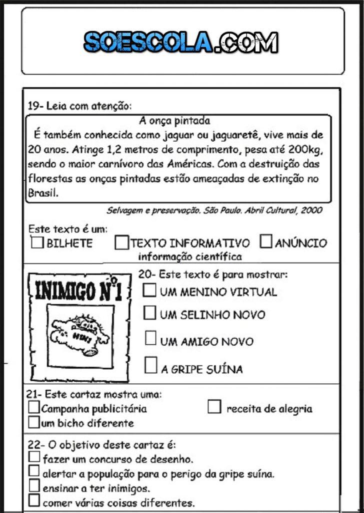 AVALIAÇÃO DE PORTUGUÊS PARA 3º ANO SOBRE GÊNEROS TEXTUAIS 3º BIMESTRE