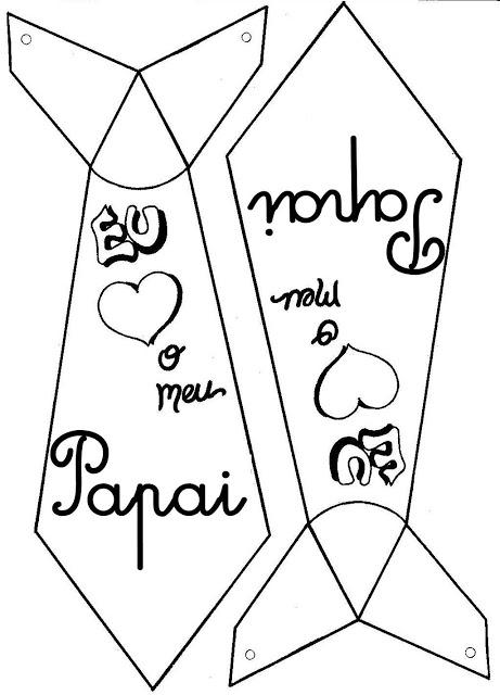 Moldes para o dia dos pais com Lembrancinhas de papel para imprimir e vários desenhos para colorir
