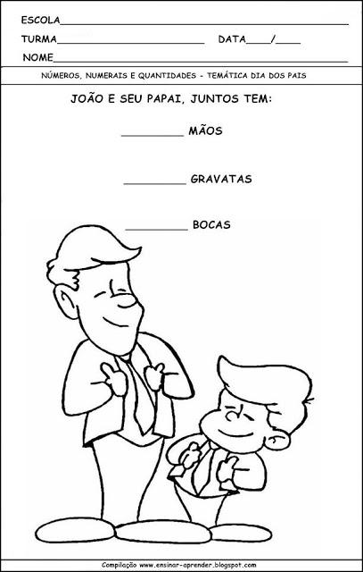 Atividades para imprimir para o dia dos pais