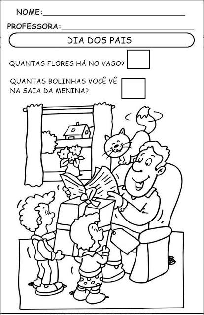 Atividades Infantis para imprimir com o tema comemorativo sobre o dia dos pais