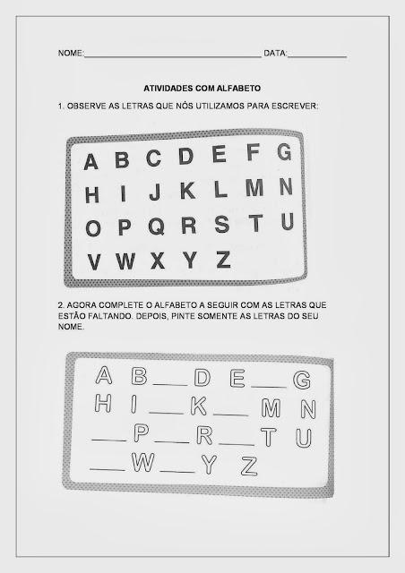São atividades que possuem como objetivo levar o aluno a reconhecer as letras do alfabeto (reconhecer o alfabeto), diferenciar as letras de outros sinais gráficos e de outros sistemas de representação, possibilitar aos alunos o desenvolvimento do conceito de letra e das combinações possíveis entre elas.