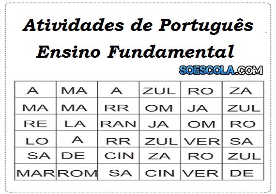 Diversas Atividades de Português para Ensino Fundamental