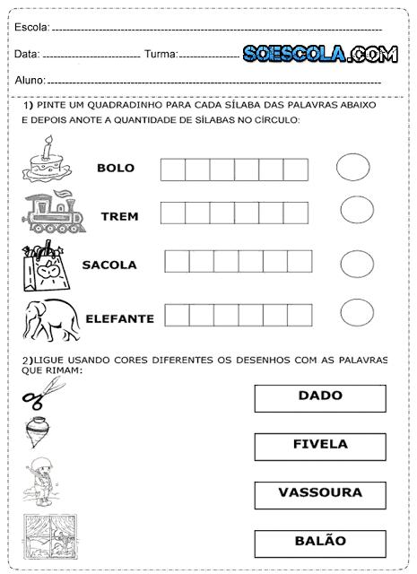 atividades prontas para imprimir para alfabetização infantil, para alunos do 1º, 2º e 3º ano.