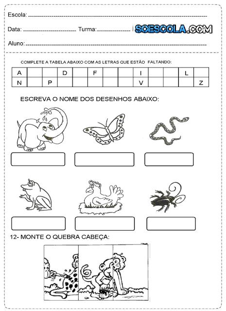 atividades para 1º ano do ensino fundamental prontas para imprimir.