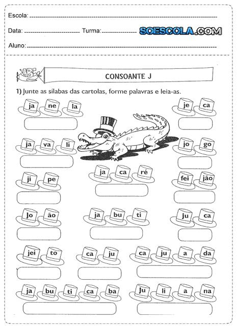 Hoje trago para vocês algumas atividades para 1º ano de português prontas para imprimir e com alguns desenhos.