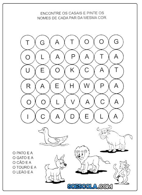 Caça-Palavras de Animais para imprimir