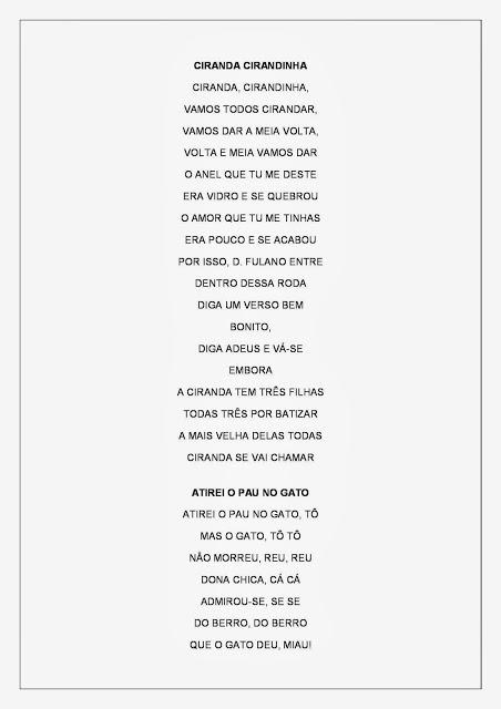 Cantigas de Roda - Atividades de Alfabetização - Cantigas Folclóricas 2
