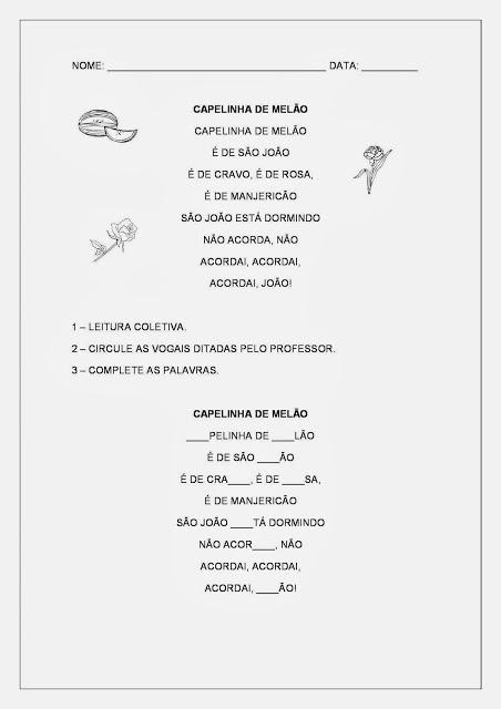 Cantigas de Roda - Atividades de Alfabetização - Capelinha de Melão