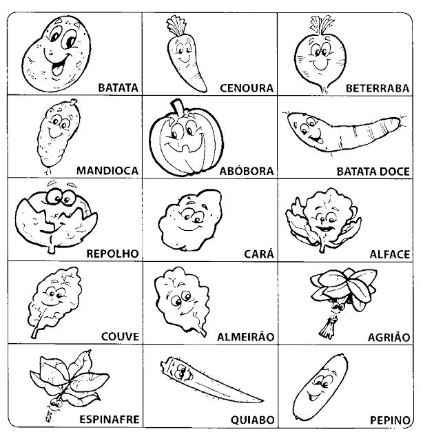 Jogo da Memória das verduras e legumes
