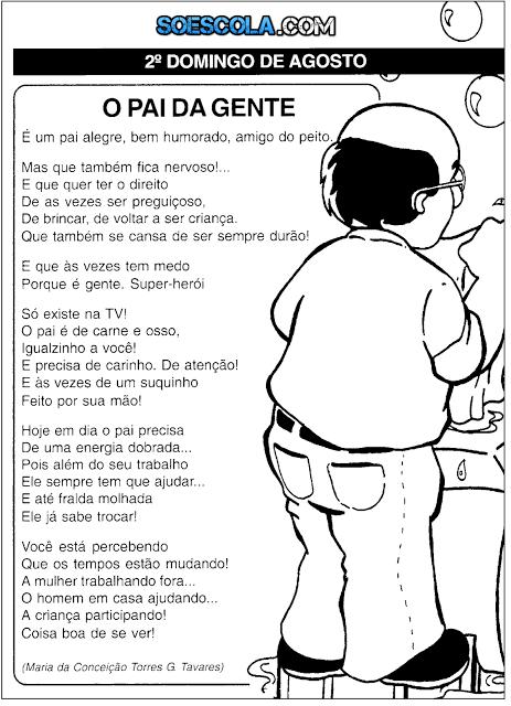 Poemas Para O Dia Dos Pais Com Desenho Para Colorir Www Soescola