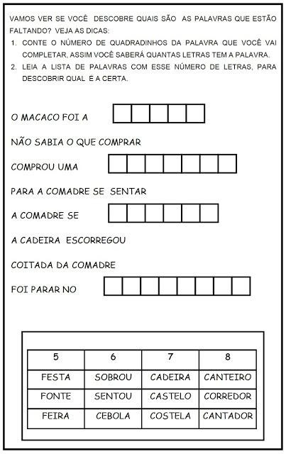 Atividades de Leitura - Atividades de Lingua Portuguesa - Complete a Musica