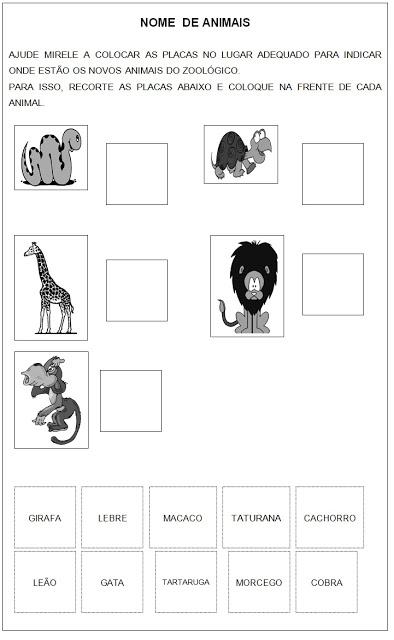 Atividade de Leitura - Atividades de Lingua Portuguesa - Nome de Animais