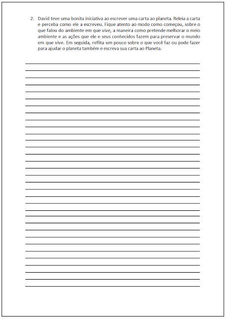 Atividades sobre o Meio Ambiente - Carta ao Planeta II - Atividade de Carta