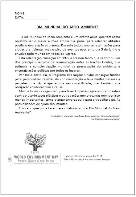 Atividades sobre o Meio Ambiente - Dia Mundia do Meio Ambiente
