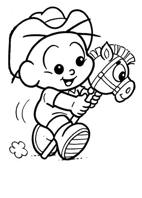 Desenhos para Colorir Turma da Mônica - Cabolinha com Cavalo Baby