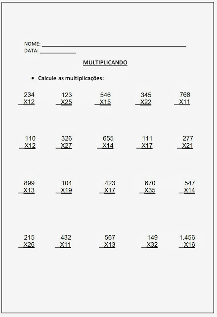 Altividades de Multiplicação - Atividades de Multiplicação 5º ano parte II