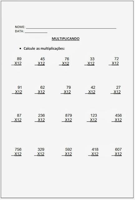 Altividades de Multiplicação - Atividades de Multiplicação 5º ano parte III