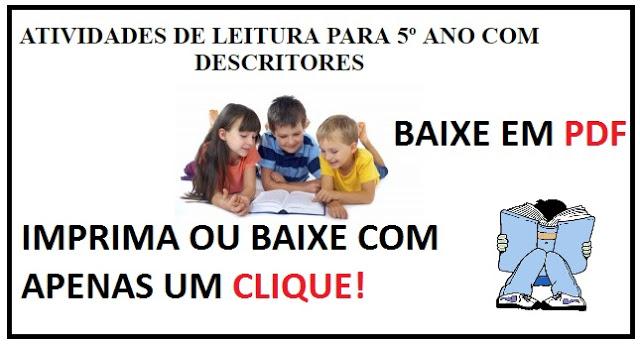 BAIXE ATIVIDADES DE LEITURA PARA ALUNOS DO 5º ANO EM PDF