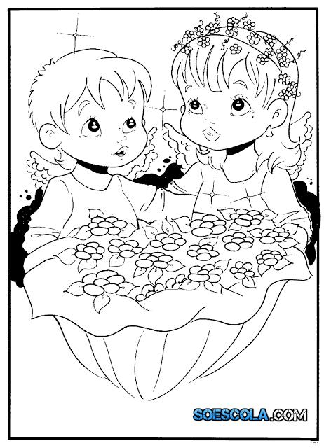 Lindo Desenho de Anjo para imprimir e colorir