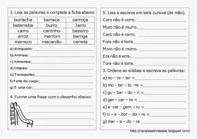 Plano de Aula e atividades de Ortografia - R ou rr