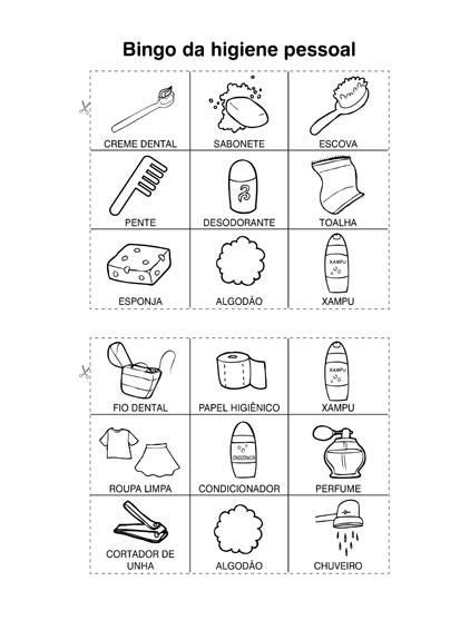 Bingo Da Higiene Pessoal So Escola